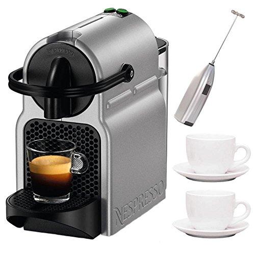 Delonghi EN80S Nespresso Inissia Espresso Machine, Silver + Milk Frother + 2 Espresso Cups and Saucers
