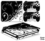 AmorFati PS4 PRO Playstation 4 PRO Console Skin Decal Sticker - Black/White + 2 Controller Skins Set