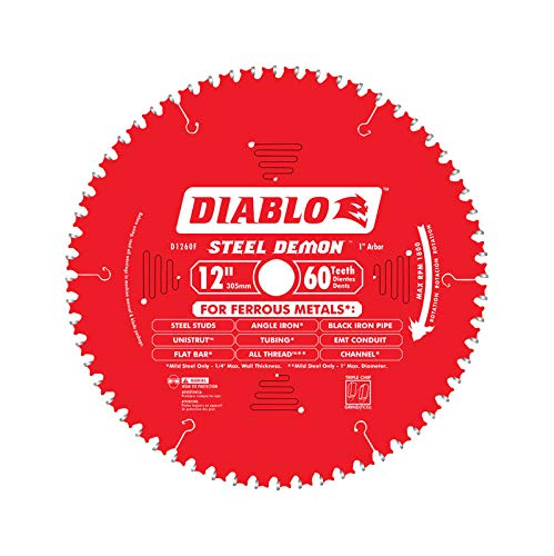 Diablo D1260CF 12-inch Steel Demon 60T Cermet II Carbide Ferrous Metal Saw Blade