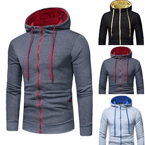 con camiseta manga de 5502 capucha Hombres sudadera larga ropa abrigo chaqueta SHOBDW Gris Tops Rxq6nX0U4