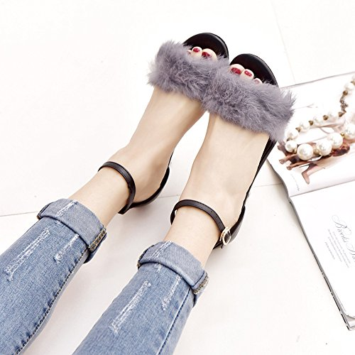 Summer Women Sandals, Block Buckle Exposed Foot High Heel Sandals Ankle Tie Up Strappy Platforms Shoes - Beach Sandals Wedges Shoes Footwear Flat Flip Flop Sandal | No Rubbing Gray
