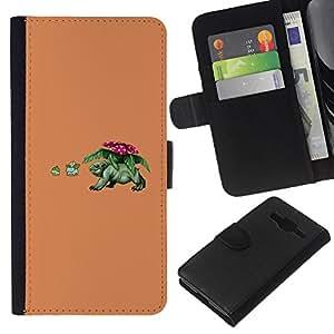 """A-type (Divertido de Poke Monster"""") Colorida Impresión Funda Cuero Monedero Caja Bolsa Cubierta Caja Piel Card Slots Para Samsung Galaxy Core Prime"""