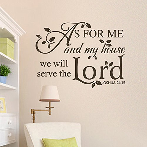 Scripture Wall Decal As for me and my house, we will serve the Lord. Joshua 24:15 Religious Wall Saying (Black, Small)