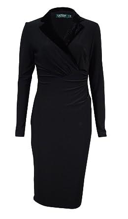 RALPH LAUREN Women's Petite Velvet Collar Jersey Dress at Amazon Women's  Clothing store: