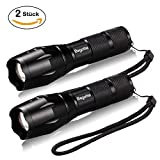 LED Torch [2 Pack], Bagotte Torches LED Super Bright Powerful 1600 Lumens Cree T6 Tactical Flashlight Adjustable Focus Waterproof Hand Pocket Torch for Camp