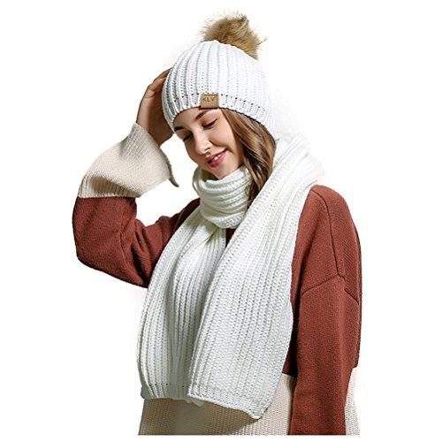 Winter Women Scarf Hat Set Knitted Skullcaps White - 9