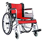 Comfy Go - Durable Lightweight Manual Handbrake Portable Medical Mobility Wheelchair (Red)