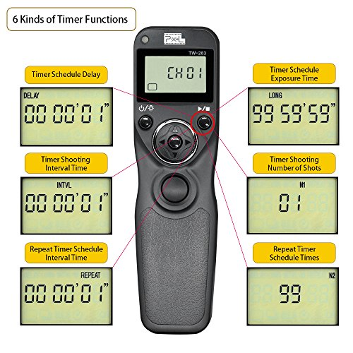 Pixel TW-283/N3 LCD Wireless Shutter Release Timer Remote Control for Canon 7D series, 5D series, 50D, 40D, 30D, 10D