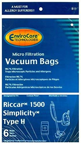 12 Riccar Simplicity Type H Vacuum Bags, Canister Vacuum Cleaners, S13L, S14CL, S18, S24, S30, S36, S38, ()