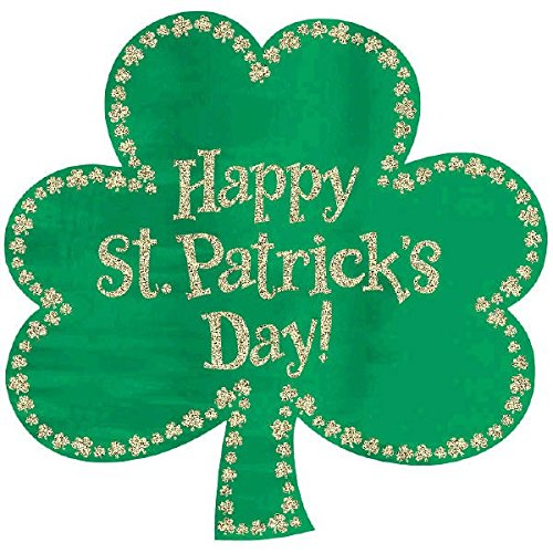 Amscan Lucky Irish Green St. Patrick's Day Glitter Shamrock Cutout Party Decoration, Green/Gold, 16