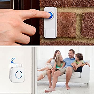 Bitiwend Wireless Doorbell Kit, Operating at 1000 Feet with 52 Chimes, 4 Level Volume, 2 Receivers & 1 Weatherproof Push Button with Sound and LED Flash,Low Power Consumption