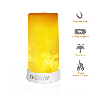 LED Flame Effect Light, CFGROW USB Rechargeable Flame Table Lamp,Waterproof Flame Lights with Magnegic Base, 4 Modes Upside Down Effect Flame Lamp for Festival/Hotel/Bar Party Decoration