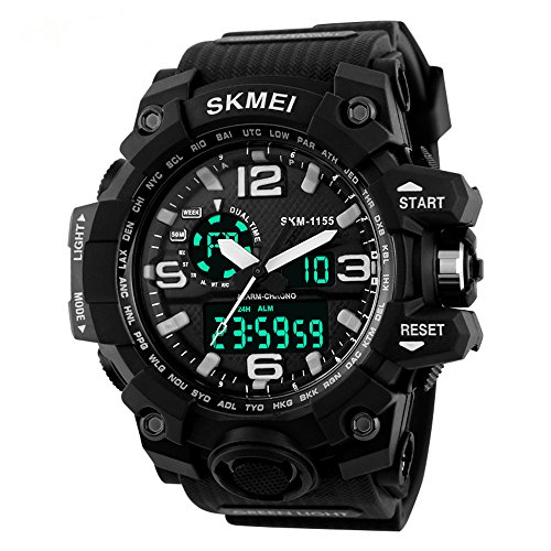 Randon Men's Military Analog Digital Quartz Electronic Sport Watch Multifunction Dual Timezone-Black