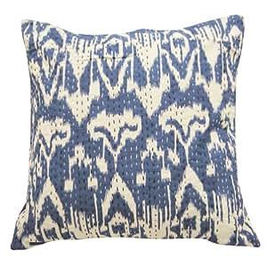 "Azul Funda de almohada Kantha Stitch Resumen Imprimir Home Decor Cushion Cover Art India Regalo 18 pulgadas """