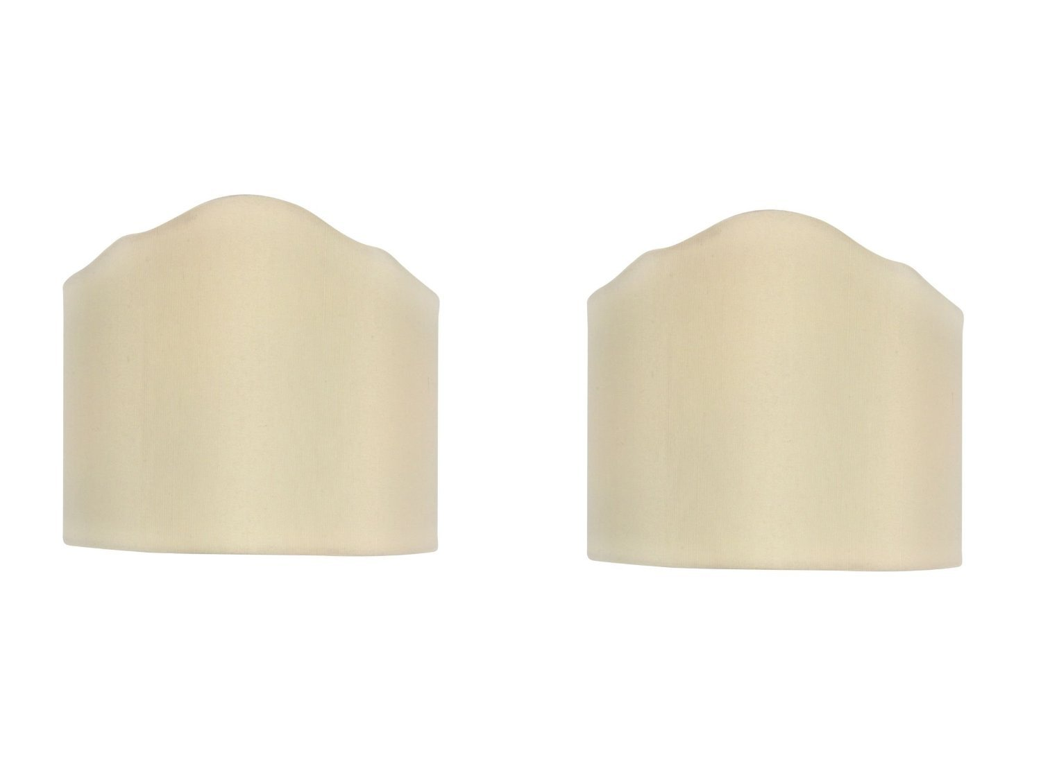 Upgradelights Eggshell Silk 6 Inch Pair of Wall Sconce Clip on Shield Half Lampshades
