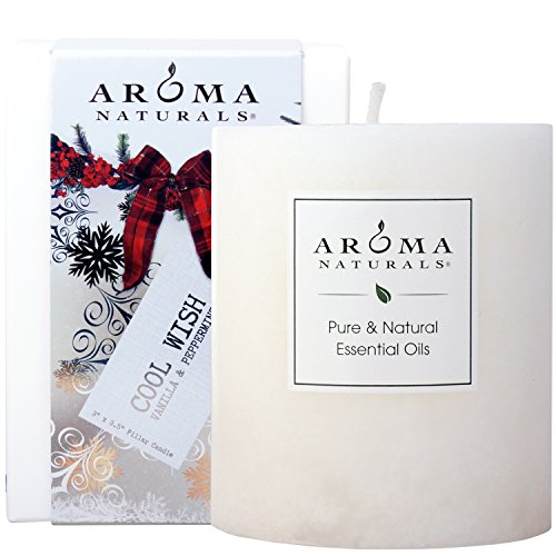 Aroma Naturals Holiday Essential Oil Scented Pillar Candle, Vanilla & Peppermint, Cool Wish, 3 inch x 3.5 (Blended Family Candle)