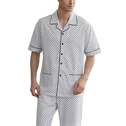 AEOPES Cotton Sleepwear Mens Homewear Summer Short Sleeve Knitted Pajama Set Long Pants 8007 XXL by AEOPES