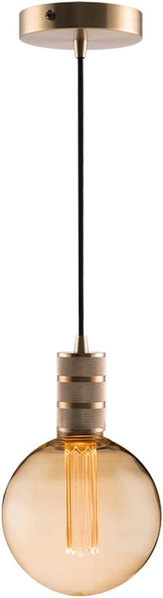 Gold Mini Pendant Light Fitting Modern Style, Single Light Socket, 4.75 Canopy, 10ft Black Fabric Cord, Ceiling Lighting Fixture, E26 Lampholder, Harwez LP-067-2, Include 1 Decorative Bulb