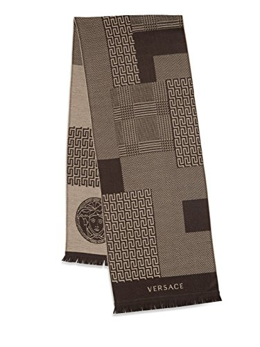 Versace Men's Paneled Multi-Pattern Wool Scarf (Marrone) by V1969 by VERSACE