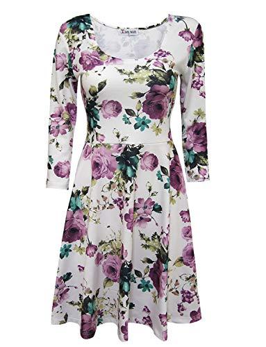 TAM Ware Women Elegant Floral Print 3/4 Sleeve Scoop Neck Flare Dress TWCWD100-WHITEPURPLE-US XL -