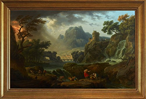 Berkin Arts Framed Claude Joseph Vernet Giclee Canvas Print Paintings Poster Reproduction(A Mountain Landscape with an Approaching Storm)