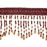 Expo International Kirsten Scalloped Bead Fringe Trim, 10-Yard, Brown Multi