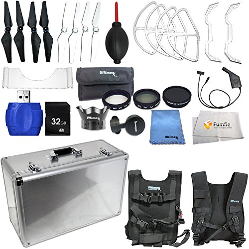 Accessory kit for DJI Phantom 4 includes Hard-Shell Aluminum Case + 2 Pairs of Carbon Fiber Propellers + 2 Pairs of White Propeller Blades + 32GB SD Memory Card + High Speed Card Reader & More! by Fumfie