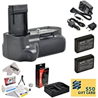 Professional Vertical Battery Grip With Sure Grip Technology For the Canon EOS Rebel T3 T5 1100D 1200D Kiss X50 Digital SLR Cameras Includes 2 Extended Life Canon LP-E10 LPE10 Replacement Battery Packs (2000MAH Each 4000MAH in Total) + 1 hour AC/DC Dual Battery Rapid Charger + Deluxe Lens Cleaning Kit + LCD Screen Potectors + Mini Tripod + 47stphoto Microfiber Cloth Photo Print ! Review Review Image