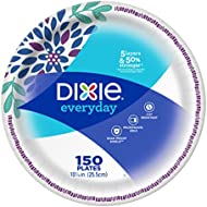"Dixie Everyday Paper Plates, 10 1/16"", 150 Count, Dinner Size Printed Disposable Plates"