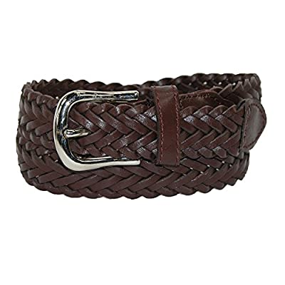 CTM Boys' Leather 3/4 Inch Adjustable Braided Dress Belt