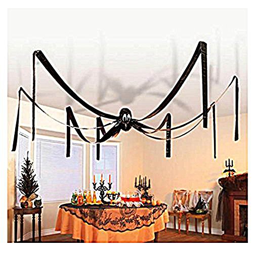 12 Foot Giant Hanging Halloween Friendly Black Spider Party Decoration - Plastic