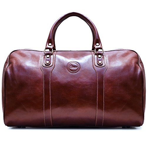 Cenzo Duffle Vecchio Brown Italian Leather Weekender Travel Bag by Cenzo (Image #1)