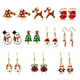 Kids Christmas Stud Earring Set - 10 Pairs Hypoallergenic Christmas Gifts Holiday Jewelry for Women Teens Girls Cute Festive Dangle Earrings, 5 Pairs Stud Earrings, 5 Pairs Drop Earrings, Gold-tone