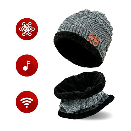 Bluetooth Beanie - Bluetooth Hat - Wireless Headphones Hat and Scarf Set – Beanie For Jogging Travel Running - For Men Women - Warm Music Hat – Built-in Microphone – Washable Knit Hat (Friend Knit Hat)