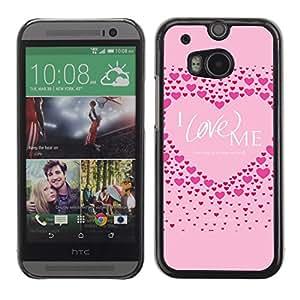 Cubierta de la caja de protección la piel dura para el HTC ONE M8 2014 - pink love me heart inspirational quote