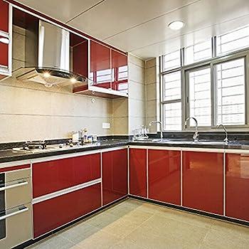Amazoncom Yazi Self Adhesive PVC Laser Peony Shelf Liner Kitchen - Contact paper for kitchen cabinets