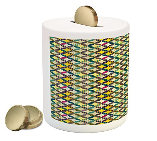 Lunarable Retro Piggy Bank, Funky Geometrical Groovy Mix Forms with Trippy Polka Dots Retro Fashion Patchwork, Printed Ceramic Coin Bank Money Box for Cash Saving, Multicolor