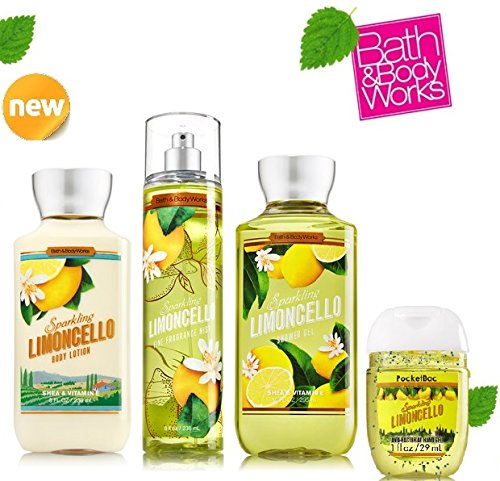 BATH AND BODY WORKS SPARKLING LIMONCELLO SET ~ shower gel ~ body lotion ~ fragrance mist .10 oz.!!+ Small Sanitizing Hand Gel Lot of -