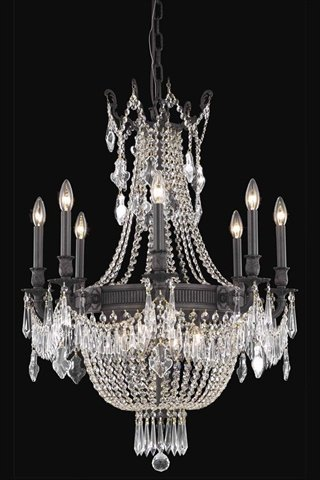 Esperanza 12 Light - Elegant Lighting Esperanza Collection 12-Light Hanging Fixture with Elegant Cut Crystals, Dark Bronze Finish