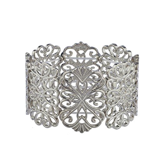 Lux Accessories Silvertone Casted Filigree Pattern Stretch Bracelet