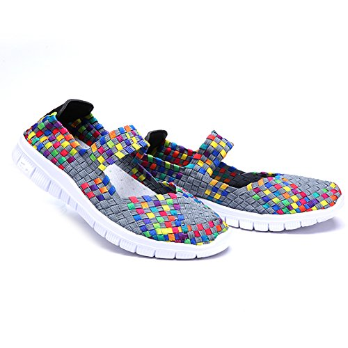 Kangwoo Frauen Atmungsaktive Wasserschuhe Elastische Handgemachte Woven Sneakers Regenbogen