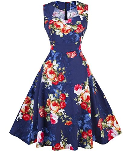 Floral Printed Empire Waist Women Sleeveless Pinup Fit Dress Coolred As12 Slim OqTFI