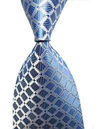 Men's Classic Checks Light Blue White Jacquard Woven Silk Tie Necktie