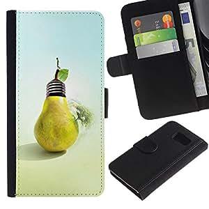 JackGot ( Disegno Pera Bulb ) Samsung Galaxy S6 la tarjeta de Crédito Slots PU Funda de cuero Monedero caso cubierta de piel