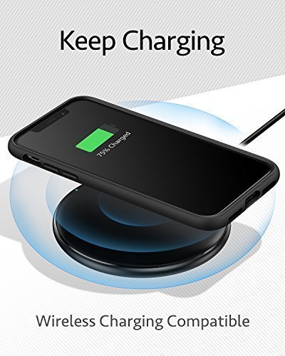 iPhone X Case, iPhone 10 Case, Anker KARAPAX Silk Case Silicone Gel Rubber Shockproof Cover with Soft Microfiber Cloth Cushion [Support Wireless Charging] [Slim Fit] for iPhone X (2017) - Black