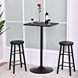 3 PC Square Bar table Set w/ 2 Stools Bistro Pub Kitchen Dining Furniture Black