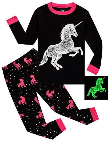 Glow in The Dark Unicorn Little Girls Pajamas for Kids 100% Cotton Pjs Size 6 -