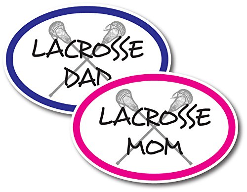 Lacrosse Mom and Lacrosse Dad - Combo Pack -Car Magnets 4 x 6 Oval Heavy Duty for Car Truck SUV Waterproof