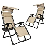 EACHPOLE |2-Pack| Reclining Infinity Zero Gravity Chair Sun Shield Canopy Cup Holder, Tan, APL1558