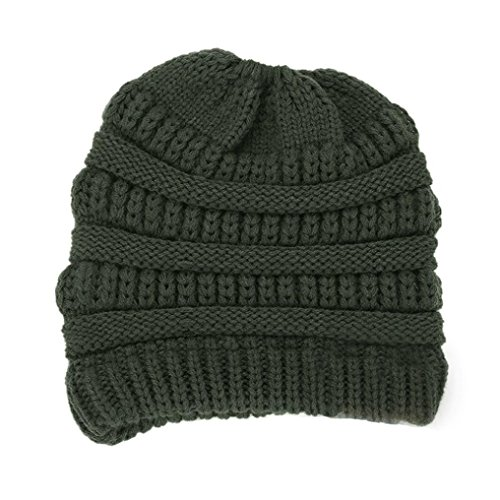 Wear Us Army Beret (Forthery Women Knit Ponytail Beanie, Warm BeanieTail Stretch Cable Knitted Hat (Army Green2))